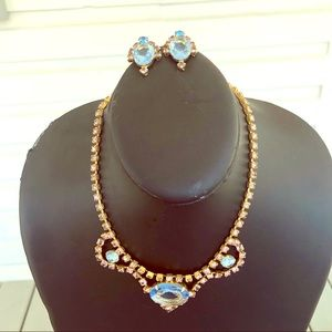Jewelry - Vintage Rhinestone Necklace and Clip On Earrings